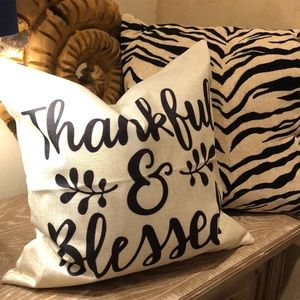 Thankful and blessed pillow